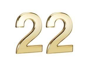 Self Adhesive House Number, 3.94 Inch ABS Plastic Number 2 for House Hotel Mailbox Address Sign Gold Tone 2 Pcs