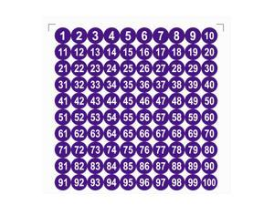Round Number Stickers, 25mm Dia Number 1-100 Self Adhesive PVC Label Waterproof White Word(Dark Purple Background)