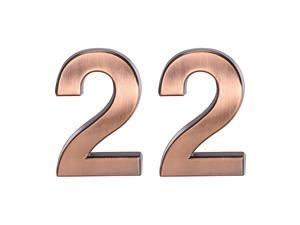 Self Adhesive House Number, 3.94 Inch ABS Plastic Number 2 for House Hotel Mailbox Address Sign Bronze Brushed 2 Pcs