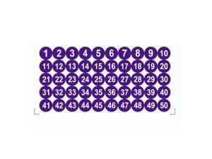 Round Number Stickers, 25mm Dia Number 1-50 Self Adhesive PVC Label Waterproof White Word(Dark Purple Background)