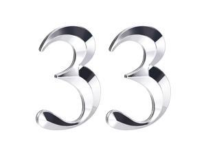Self Adhesive House Number, 2.76 Inch ABS Number 3 3D Design for House Hotel Mailbox Address Sign Silver Tone 2 Pcs