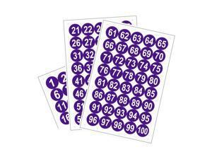 Round Number Stickers, 50mm Dia Number 1-100 Self Adhesive PVC Label Waterproof White Word(Dark Purple Background)