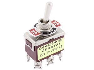 Unique Bargains 12mm Panel Mounted DPDT ON/OFF/ON Locking Toggle Switch AC 250V 15A T702CW