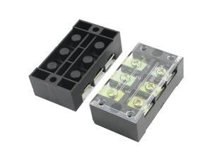 Global Bargains 2pcs 600V 45A 3P Double Row Covered Barrier Screw Terminal Block Strip