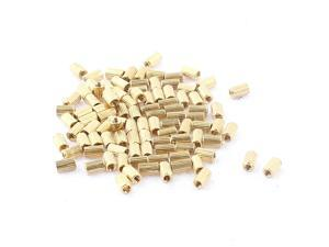 100Pcs M2 x 5mm Female Thread Knurled Brass Standoff Spacer for Mother Board