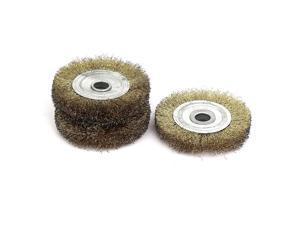 6mm Shank 100mm Dia T Shape Crimped Wire Wheel Brush Buffing Polishing Tool 3pcs