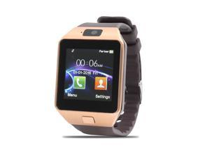 DZ09 Anti-lost SIM Card MP3 Player Smart Watch Gold Tone for IOS Android Phone