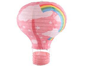 Party Graduation Paper Rainbow Print DIY Decoration Hot Air Balloon Lantern Pink
