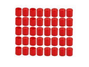 40pcs 4mm Inner Dia PVC Flexible Vinyl Cap Screw Thread Protector Cover Red