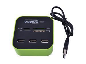 Laptop LED Light Multi-Function 7 Slots USB 2.0 Comb USB Hub Card Reader Green