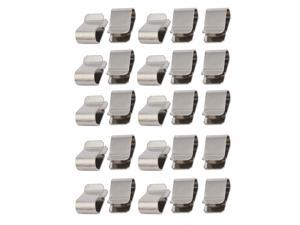 25pcs Stainless Steel Spring U Clip Silver Tone 21.4mm x 12mm