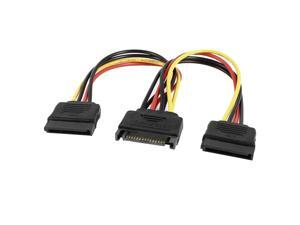 Unique Bargains SATA 15 Pin Male to Dual Female M/F Connector Y Splitter Power Adapter Cable