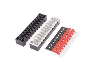 2 Pcs 600V 15A 10P Dual Row Barrier Terminal Block + 4 x Terminal Stripes