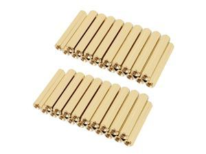 Unique Bargains 50pcs Brass Straight PCB Pillar Female Thread Hex Standoff Spacer M3x5x28mm