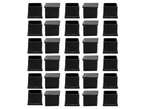 Unique Bargains 30 Pcs Antislip Rubber Square 25mm x 25mm Chair Foot Cover Table Furniture Leg Protector Black