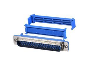 IDC D-Sub Ribbon Cable Connector 37-pin 2-row Male Plug IDC Crimp Port Terminal Breakout for Flat Ribbon Cable Blue
