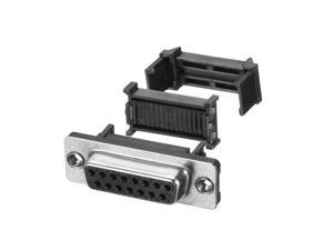 IDC D-Sub Ribbon Cable Connector 15-pin 2-row Female Socket IDC Crimp Port Terminal Breakout for Flat Ribbon Cable Black Pack of 10