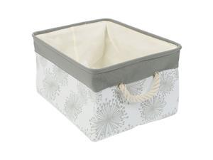 """Collapsible Storage Baskets Bin, Canvas Fabric Laundry Basket with Drawstring ,Toy Bin Organizer for Clothes Towel Storage, (X-Large -17.7"""" x 13.8"""" x 9.8"""" ) , Gray Gypsophila"""