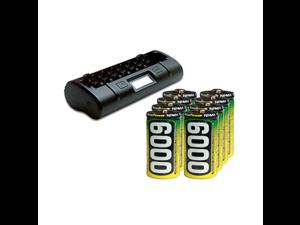 8 Bay LCD Maha Powerex Battery Charger + 8 C AccuPower NiMH Batteries (6000 mAh)