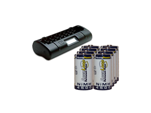 8 Bay LCD Maha Powerex Battery Charger + 8 C NiMH AccuPower AccuLoop Batteries (4500 mAh)