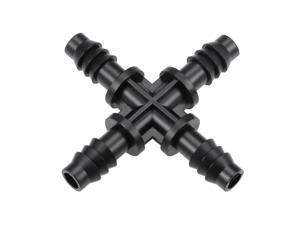 Barb Drip Pipe Connector 8/12 Hose Fitting 4 Way for Garden Agricultural Irrigation System, Plastic 15pcs