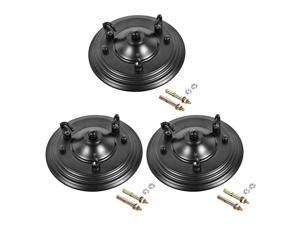 Retro Light Canopy Kit with 3 Hooks, Vintage Chandelier Ceiling Plate, for Light Fitting Accessory DIY, 160mm 6.3Inch Black 3Pcs