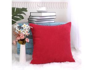 Cushion Cover Toss Pillow Case Shell Velvet Corn Striped 20 x 20 Inches Red