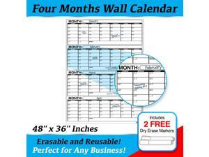 """Business Basics EXTRA LARGE Dry Erase 4 Month 48"""" x 36"""" in Wall Calendar Laminated Dry or Wet Erase Print Squares to Plan Your Whole Day Perfect for School Office Cubicle Home College Dorms"""