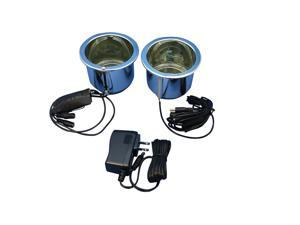 Power Cup Holder Kit, Master and Slave Chrome Cups, With BLUE LED lighting
