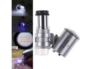 Pocket 60X LED Magnifying Glass Magnifiers Microscope for Jeweler Stamp Specimen