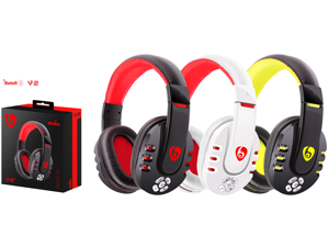 OVLENG V8 Wireless Bluetooth Stereo Earphone Headset Music Gaming Headphone with Mic——Black RED