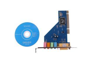 4 Channel Audio 3D PC PCI Sound Audio Card w/Game MIDI Port for PC Windows XP/Vista/7