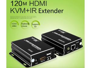 HDMI KVM Extender 120m Repeat HDMI + USB over UTP CAT 5e/6 RJ45 LAN cable by 390ft Sender & Receiver One Pair single catse cable MT-120HK with AUTO network cable technology