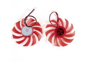 2 Pcs 75mm 2pin Red Plastic VGA Video Card Cooling Fan Cooler for PC Computer
