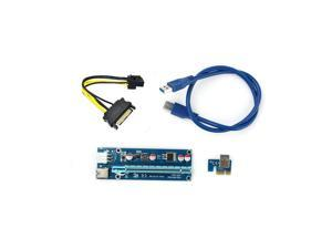 60cm USB 3.0 PCIe Riser Card PCI-E Express 1x to 16x Extender Riser Card USB Adapter SATA 6Pin Power Cable for BTC Mining