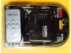 5 Port HDMI Switcher Box HDMI 5x1 Switch 5 In 1 Out with IR Remote & 3D Support