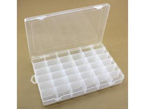 36-Grid Adjustable Dividers Clear Plastic Jewelry Box Organizer Storage Container
