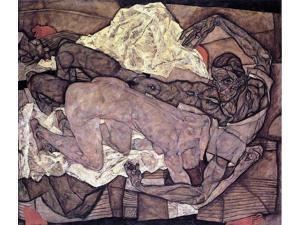 "Egon Schiele Lovers: Man and Woman I - 16"" x 20"" Premium Canvas Print"