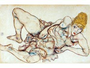 "Egon Schiele Reclining Woman with Blond Hair - 16"" x 24"" Premium Canvas Print"