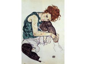 "Egon Schiele Seated Woman with Bent Knee - 16"" x 24"" Premium Canvas Print"