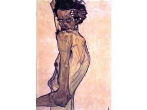 "Egon Schiele Self Portrait with Arm Twisting above Head - 16"" x 24"" Premium Canvas Print"
