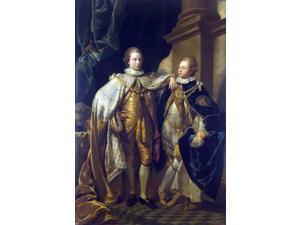 """Benjamin West Portrait of George, Prince of Wales, and Prince Frederick, later Duke of York - 16"""" x 24"""" Premium Canvas Print"""