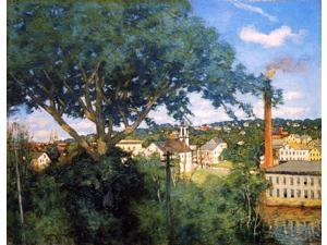 """Julian Alden Weir The Factory Village - 18"""" x 24"""" Premium Canvas Print"""