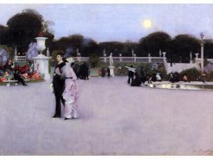 "John Singer Sargent In the Luxembourg Garden - 16"" x 24"" Premium Canvas Print"