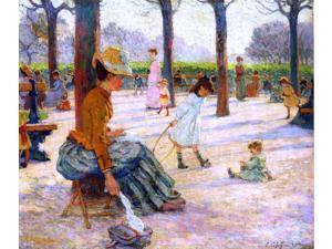 "Claude-Emil Schuffenecker A Square at Luxembourg Park - 16"" x 20"" Premium Canvas Print"