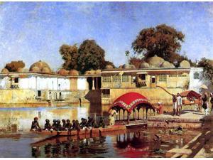"""Edwin Lord Weeks Palace and Lake at Sarket-Ahmedabad, India - 18"""" x 24"""" Premium Canvas Print"""