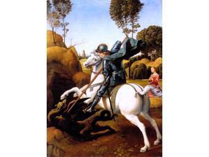 "Raphael  St. George and the Dragon - 18"" x 24"" Premium Canvas Print"