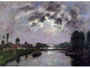 """Eugene-Louis Boudin Saint-Valery-sur-Somme, the Canal d'Abbeville - 16"""" x 24"""" Premium Canvas Print"""