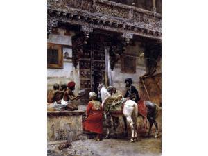 """Edwin Lord Weeks Craftsman Selling Cases by a Teak-Wood Building, Ahmedabad - 18"""" x 24"""" Premium Canvas Print"""
