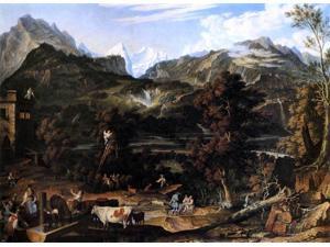 "Joseph Anton Koch The Upland near Bern - 18"" x 24"" Premium Canvas Print"